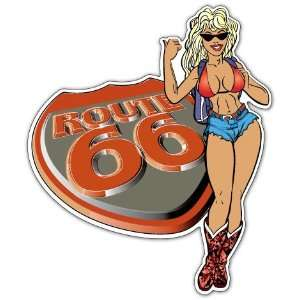 Route 66 Sexy Girl Racing Car Bumper Sticker Decal 5x4