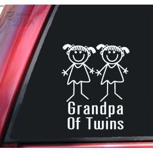Grandpa Of Twins Girl/Girl White Vinyl Decal Sticker
