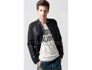 New Stylish Slim Fit Mens PU Leather BTT Jackets Coats,Black US Size