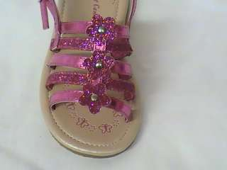 Girls Fuchsia Sandals  Flowers & Glitter CM YOUTH Sz 3