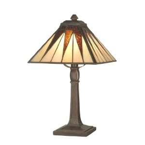 Dale Tiffany TA70680 Cooper Accent Lamp, Antique Bronze and Art Glass