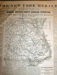 1862 Civil War newspaper w Large Map NORTH CAROLINA & Virginia