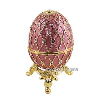 EGG TRINKET BOX W/SWAROVSKI CRYSTALS BEJEWELED Mauve
