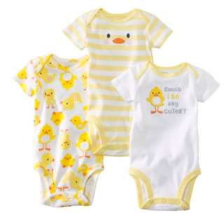 NWT Carters Baby Boy Girl Set of 3 Bodysuites White Yellow Ducks 3 6 9