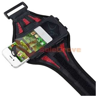 Black/Red Workout Armband Case+Headset Mic for iPod Touch 4 4G 4th 8GB