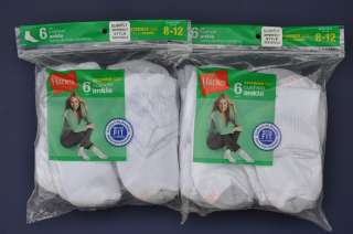12 Pairs Hanes Womens Ankle Socks Cotton White Cushion Athletic