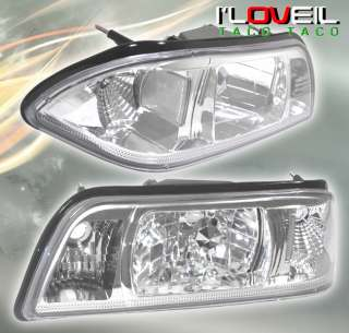 87 93 FORD MUSTANG 1PC CHROME CLEAR CRYSTAL HEADLIGHTS