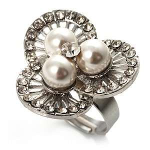 3 Petal Flower Faux Pearl Cocktail Ring (Silver Tone