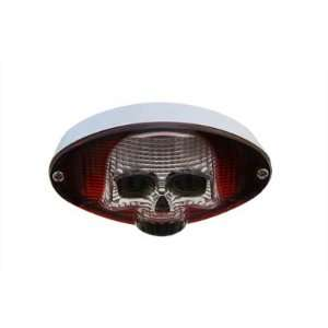 Chrome 12 Volt Clear Skull Cat Eye Bulb Type Oval Red Tail