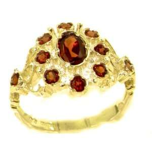 Unusual Solid Yellow Gold Natural Garnet Ring with English