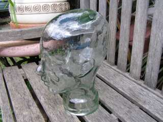 VINTAGE GLASS MANNEQUIN HEAD SCULPTURE JAR