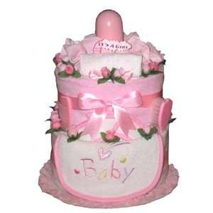 Classy Pink Baby Diaper Cake for Newborn Girls   Unique Shower Gift