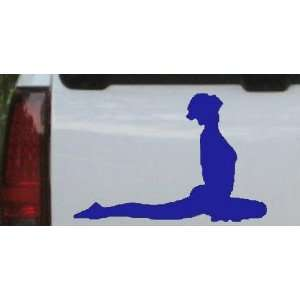 Yoga Pose Silhouettes Car Window Wall Laptop Decal Sticker    Blue 5in