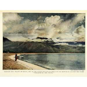 1924 Print Hanalei Bay Kauai Hawaii Pacific Coast Baker Beach Mountain