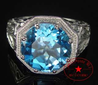 FILIGREE BLUE TOPAZ ART DECO FILIGREE 1920s VINTAGE RING