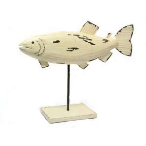 Fish Wood White Natural Figure Statue Table Topper Ocean Sea Beach