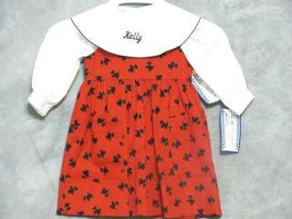 Boutique Girls Scottie Dog 2Pcs Dress Top Blouse Size 2T NWT
