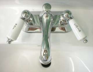 CHROME BATHROOM Sink FAUCET PORCELAIN LEVER Handles NEW