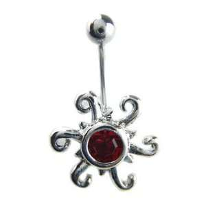 Red Crystal Rippling Sun Belly Button Ring   Red CZ