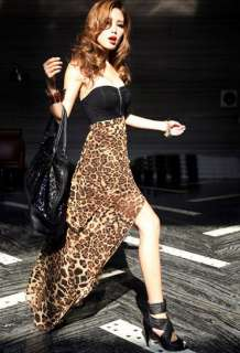 Women Sexy Chiffon Bustier Party Maxi Dress Leopard Pattern