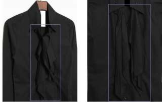 Luxury Style Unique Front Ribbons Design Mens Long Sleeve Dress Shirt
