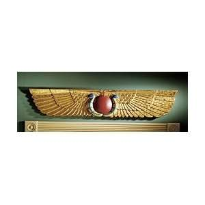Egyptian Temple Sun Disk wings Sculptural Wall Hanging