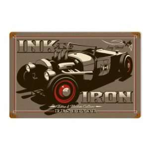 Ink N Iron Festival Metal Sign Hot Rod Tattoo Red Tire