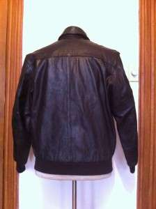 BEAN A 2 STYLE LEATHER FLIGHT BOMBER JACKET MENS MEDIUM TALON