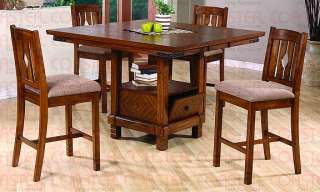 "Pc Oak 54"" Square Bar Table w/ 4 Barstools Dining Set"