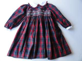 Carriage Boutiques Girls Smocked Dress Size 6 Christmas Plaid