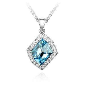 18K Gold Plated Aqua Blue Symmetrical Crystal Pendant Necklace, Free