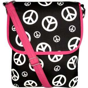 Sign Large Hipster with Hot Pink Trim Crossbody Purse Messenger Bag