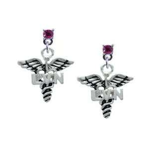 Caduceus with LVN Hot Pink Swarovski Post Charm Earrings