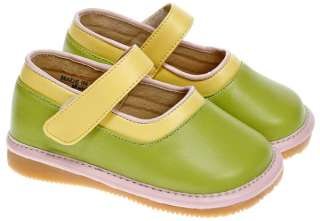 Girls Toddler Leather Squeaky Shoes Green Mary Janes UK