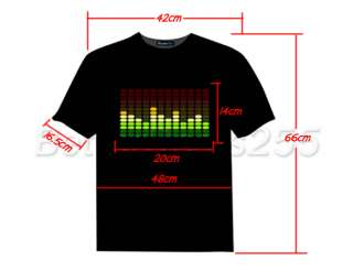 Light Up LED Sound Activated Flashing T SHIRT Size M DJ