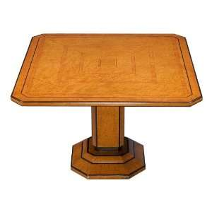 Art Deco Burled Walnut Square Pedestal Table