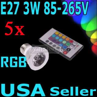 E27 16 Color Changing 3W RGB LED Light Bulb Lamp 85~265V + IR Remote