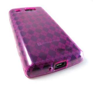 PINK ARGYLE SOFT TPU GEL SKIN CASE COVER SAMSUNG FOCUS FLASH PHONE