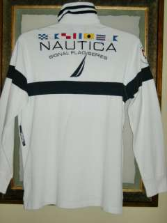 Nautica mens white cotton L/S signal flag series rugby polo sailing