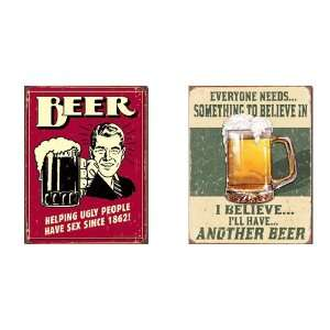 Nostalgic Beer Humor Tin Metal Sign Bundle   2 retro signs Helping