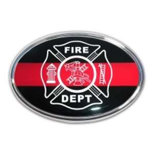 Fire Dept Oval Black with Red Line Chrome Auto Emblem