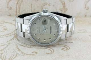 MENS ROLEX DATEJUST 18K/STAINLESS STEEL SILVER LINEN DIAMOND DIAL