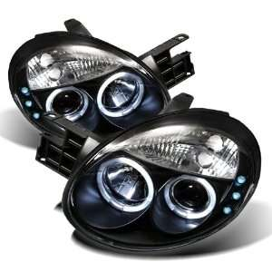 03 05 Dodge Neon Angel Eye Halo & LED Projector Headlights   Black