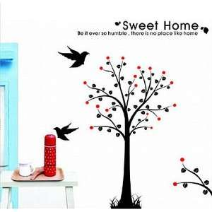 Tree Birds with Quote Wall Sticker Decal for Kids Room Living Room