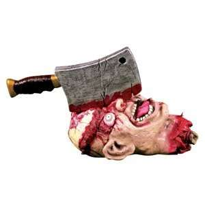 Cleavered Twitching Head ~ Scary Halloween Prop