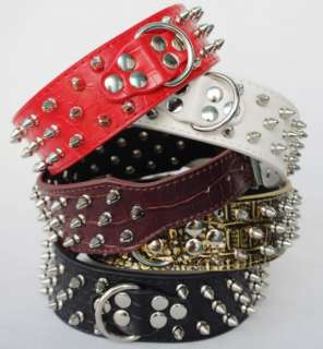 Styles 2inch Wide Studded Leather Dog Collars with D ring for Pit Bull