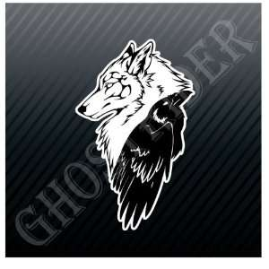 Wolf and Crow Yin Yang Car Trucks Sticker Decal