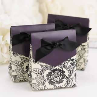 100) Floral Wedding Favor Boxes Wedding Bridal Ivory Eggplant Black