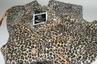 Aria 2pc Soft Microfleece Brown Leopard Print Pajama Set Button Top