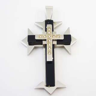 Mens Stainless Steel Cross Pendant rhinestone PT15